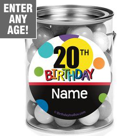 Rainbow Birthday Add-Any-Age Personalized Mini Paint Cans (12 Count)