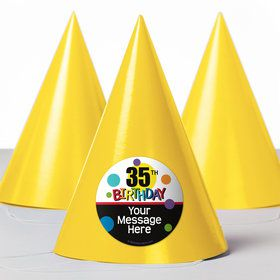 Rainbow Birthday Add-Any-Age Personalized Party Hats (8 Count)