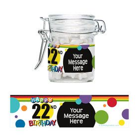 Rainbow Birthday Add-Any-Age Personalized Swing Top Apothecary Jars (12 ct)