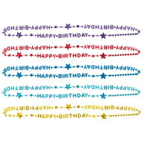 Rainbow Birthday Bead Necklaces (6 Count)