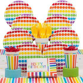 Rainbow Birthday Deluxe Tableware Kit Serves 8