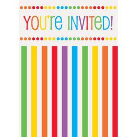 Rainbow Birthday Invitations (8 Pack)