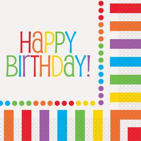 Rainbow Birthday Luncheon Napkins (16 Pack)