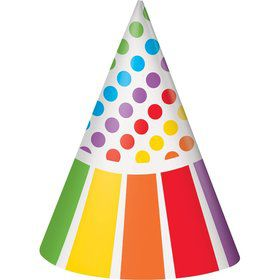 Rainbow Birthday Party Hats (8 Pack)