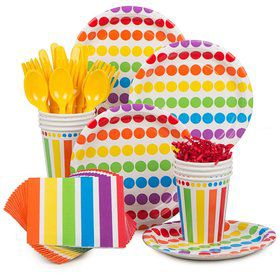 Rainbow Birthday Party Standard Tableware Kit Serves 8