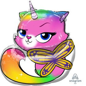 "Rainbow Butterfly Unicorn Kitty 25"" Balloon (1)"