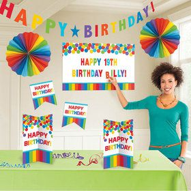 Rainbow Customizable Birthday Room Decorating Kit