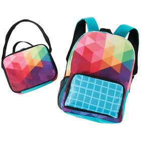 Rainbow Fractal Backpack and Lunch Tote Set
