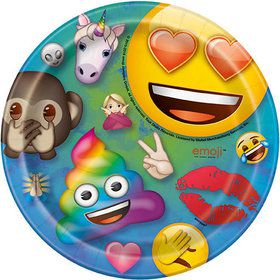 "Rainbow Fun Emoji 7"" Plates (8)"