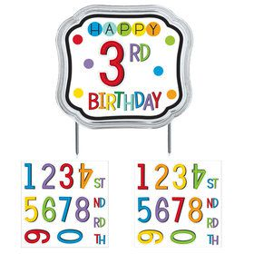 Rainbow Happy Birthday Add-Any-Age Cake Topper (Each)