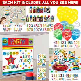 Rainbow Happy Birthday Add-Any-Age Decoration Kit