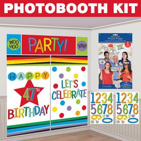 Rainbow Happy Birthday Add-Any-Age Photo Booth Kit