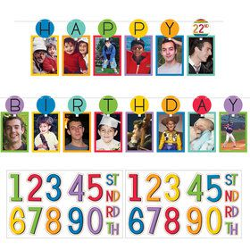 Rainbow Happy Birthday Add-Any-Age Photo Garland Kit