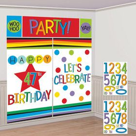 Rainbow Happy Birthday Add-Any-Age Scene Setter Kit