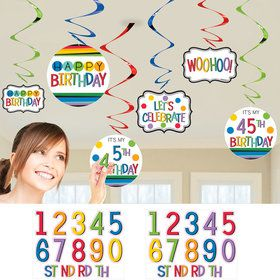 Rainbow Happy Birthday Add-Any-Age Swirl Decorations