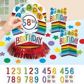 Rainbow Happy Birthday Add-Any-Age Table Decorating Kit