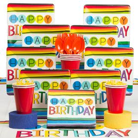 Rainbow Happy Birthday Deluxe Tableware Kit (Serves 8)