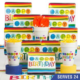 Rainbow Happy Birthday Deluxe Tableware Kit (Serves 24)