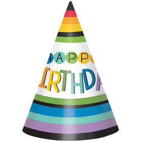 Rainbow Happy Birthday Party Hats (8 Count)