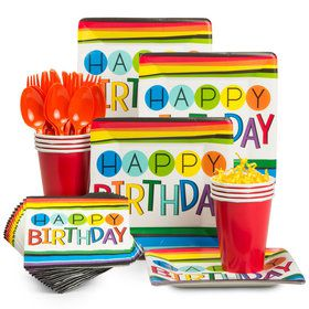 Rainbow Happy Birthday Standard Tableware Kit (Serves 8)