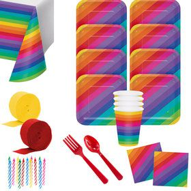 Rainbow Party Deluxe Tableware Kit (Serves 8)