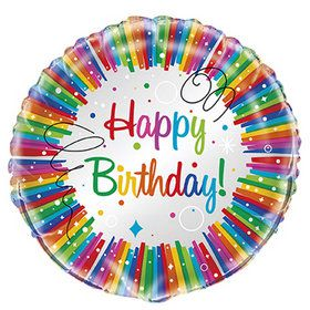 "Rainbow Ribbons Birthday 18"" Foil Balloon"