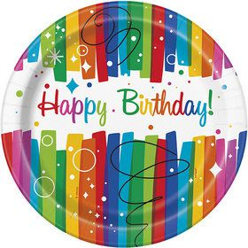 "Rainbow Ribbons Birthday 9"" Plates (8)"