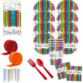 Rainbow Ribbons Birthday Deluxe Tableware Kit (Serves 8)