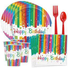 Rainbow Ribbons Birthday Standard Tableware Kit (Serves 8)