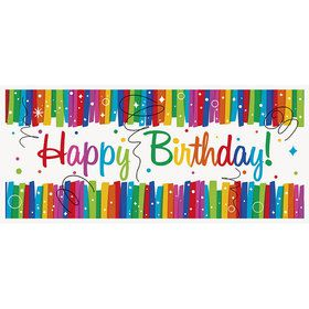"Rainbow Ribbons Birthday Wall Banner 60""x27"""
