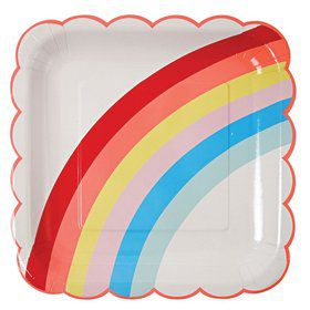 Rainbow Scalloped Lunch Plates