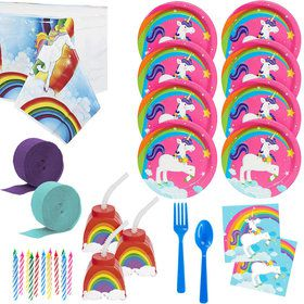 Rainbow Unicorn Deluxe Tableware Kit With Molded Cups (Serves 24)
