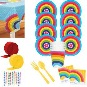 Rainbow Wishes Deluxe Tableware Kit (Serves 8)