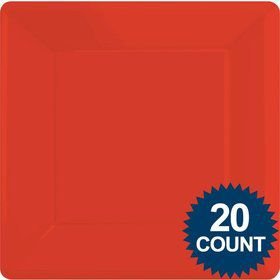 "Red 10"" Square Paper Plates, 20 ct."