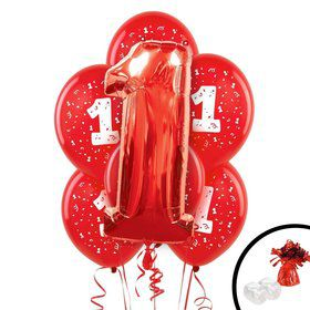 Red 1st Birthday Balloon Bouquet