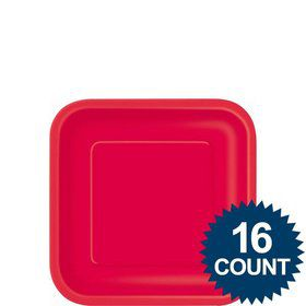 "Red 7"" Square Cake Plates (16 Pack)"