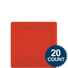 "Red 7"" Square Paper Plates, 20 ct."