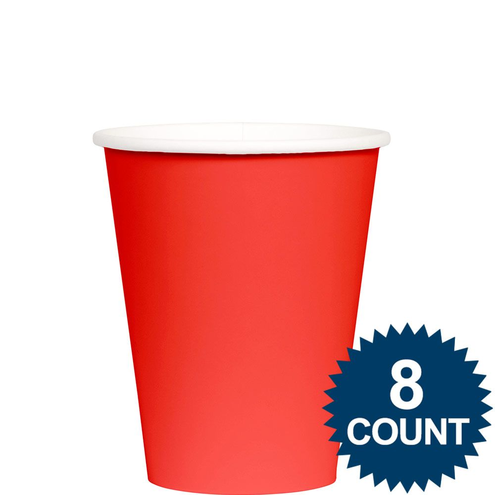 Red 9 Oz. Paper Cup, 8Ct. BB100151