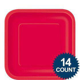 "Red 9"" Square Luncheon Plates (14 Pack)"