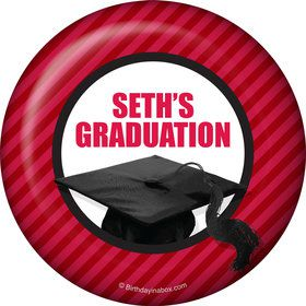 Red Caps Off Graduation Personalized Button (Each)