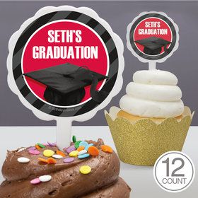 Red Caps Off Graduation Personalized Cupcake Picks (12 Count)