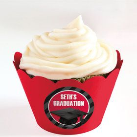 Red Caps Off Graduation Personalized Cupcake Wrappers (Set of 24)