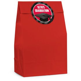 Red Caps Off Graduation Personalized Favor Bag (12 Pack)