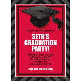 Red Caps Off Graduation Personalized Invitation (Each)