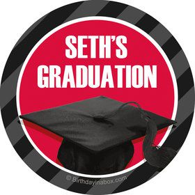 Red Caps Off Graduation Personalized Mini Stickers (Sheet of 20)