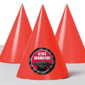 Red Caps Off Graduation Personalized Party Hats (8 Count)