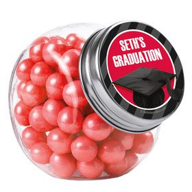 Red Caps Off Graduation Personalized Plain Glass Jars (12 Count)