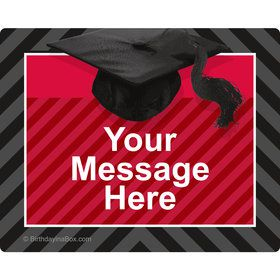 Red Caps Off Graduation Personalized Rectangular Stickers (Sheet of 15)
