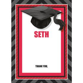 Red Caps Off Graduation Personalized Thank You (Each)