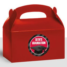 Red Caps Off Graduation Personalized Treat Favor Boxes (12 Count)